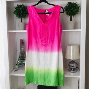 Michael Kors, Pink/Green Linen Midi Dress
